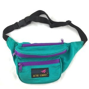 Vintage 90s fanny pack hip pouch teal purple 1990s